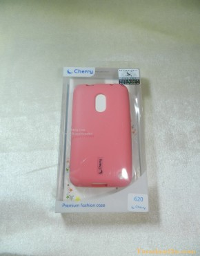 Lumia 620 Soft Case Cherry (สีชมพู)